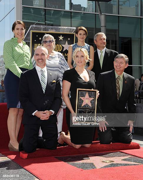 Actors Kate Winslet Kathy Bates and Shailene Woodley attend the ceremony honoring Kate Winslet with a Star on The Hollywood Walk of Fame on March 17...