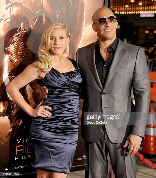 "Actors Katee Sackhoff and Vin Diesel arrive at the Los Angeles premiere of ""Riddick"" at the Westwood Village Theatre on August 28, 2013 in Westwood,..."