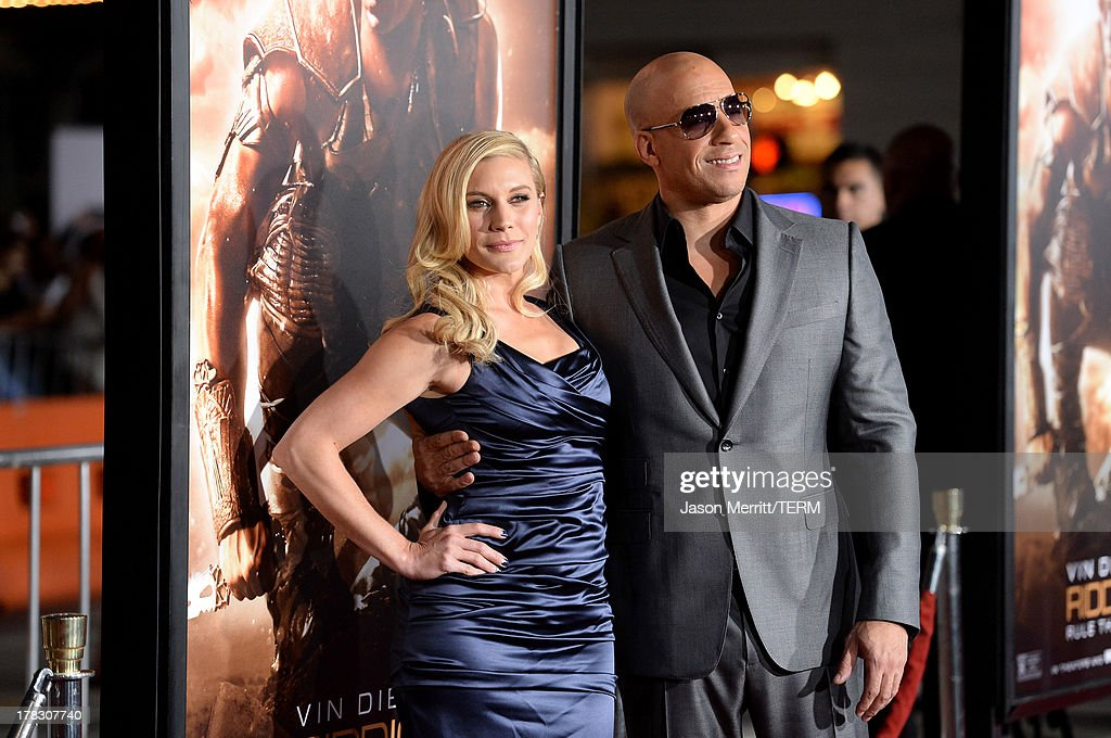 Actors Katee Sackhoff and Vin Diesel arrive at the premiere of Universal Pictures' 'Riddick' at Mann Village Theatre on August 28, 2013 in Westwood, California.