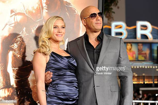 """Actors Katee Sackhoff and Vin Diesel attend the premiere of Universal Pictures' """"Riddick"""" at Mann Village Theatre on August 28, 2013 in Westwood,..."""