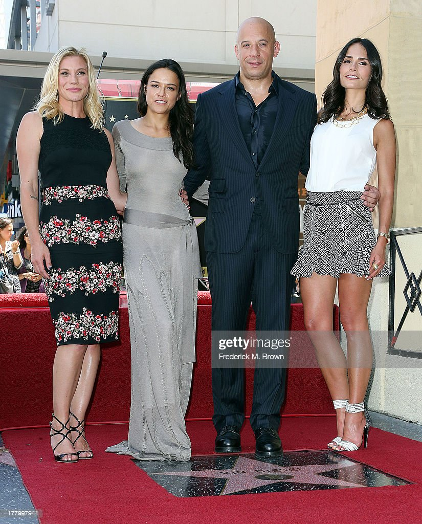 Actors Katee Sackhoff, Michelle Rodriguez, Vin Diesel and Jordanna Brewster during the ceremony honoring actor Vin Diesel on The Hollywood Walk of Fame on August 26, 2013 in Hollywood, California.