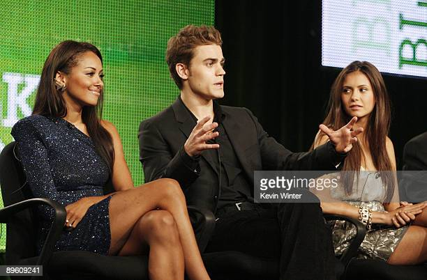 Actors Katerina Graham Paul Wesley and Nina Dobrev of 'The Vampire Diaries' appear during the CW Network portion of the 2009 Summer Television...