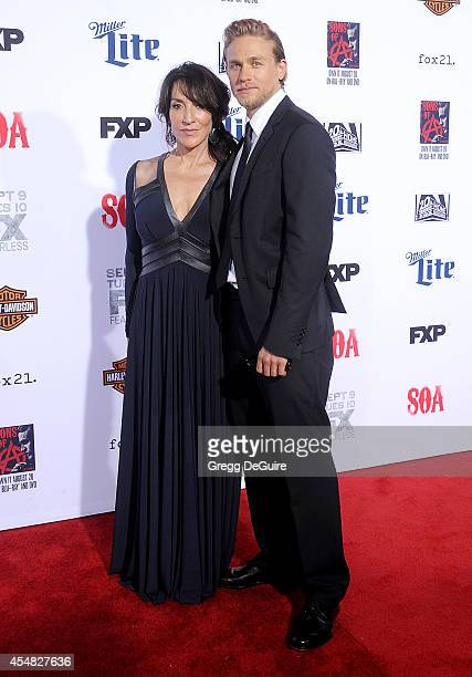 Actors Katey Sagal and Charlie Hunnam arrive at FX's 'Sons Of Anarchy' premiere at TCL Chinese Theatre on September 6 2014 in Hollywood California