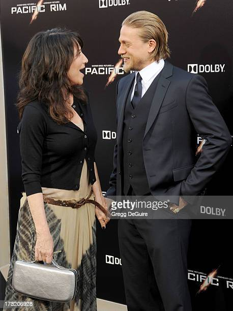 Actors Katey Sagal and Charlie Hunnam arrive at the Los Angeles premiere of 'Pacific Rim' at Dolby Theatre on July 9 2013 in Hollywood California
