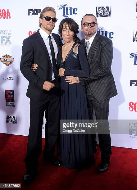 Actors Katey Sagal Charlie Hunnam and executive producer Kurt Sutter arrive at FX's 'Sons Of Anarchy' premiere at TCL Chinese Theatre on September 6...