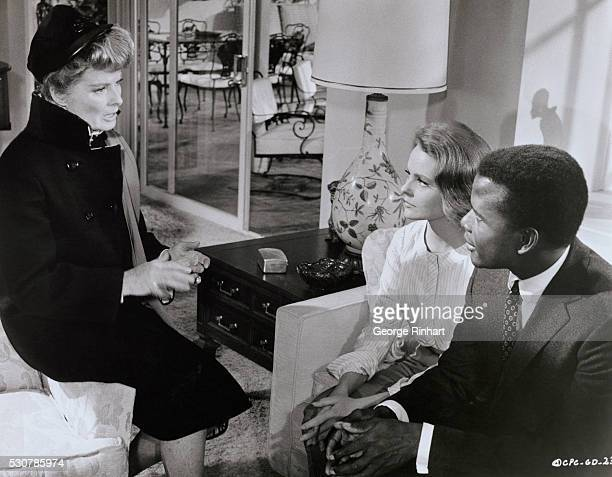Actors Katharine Hepburn Katharine Houghton and Sidney Poitier in the 1968 Columbia Pictures film Guess Who is Coming to Dinner directed by Stanley...
