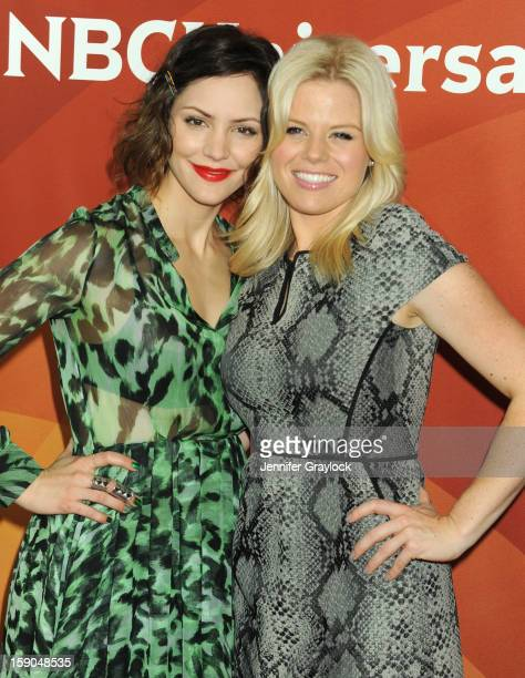 Actors Katharine McPhee and Megan Hilty attends NBC Winter TCA Press Tour held at the Langham Huntington Hotel and Spa on January 6 2013 in Pasadena...