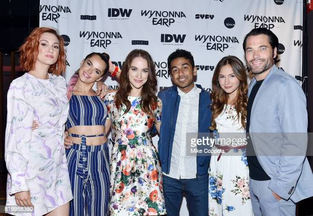 Actors Katherine Barrell Tamara Duarte Melanie Scrofano Varun Saranga Dominique ProvostChalkley and Tim Rozon at the Wynonna Earp Media Mixer with...