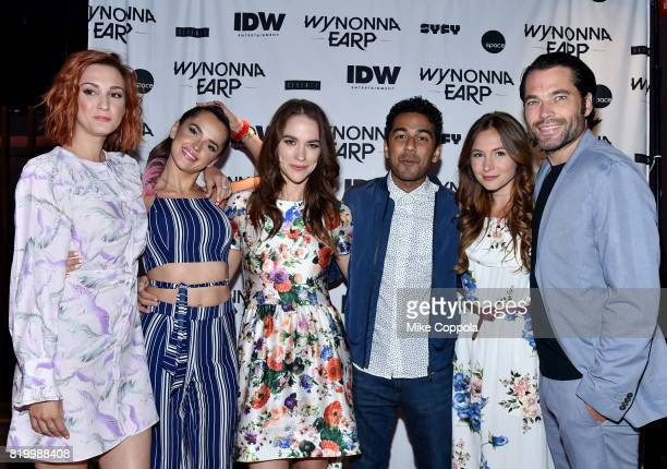 Actors Katherine Barrell Tamara Duarte Melanie Scrofano Varun Saranga Dominique ProvostChalkley and Tim Rozon at the 'Wynonna Earp' Media Mixer with...