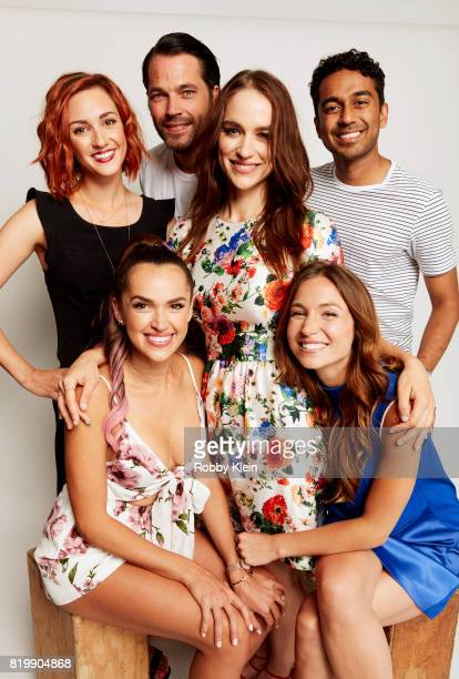 Actors Katherine Barrell Tim Rozon Melanie Scrofano Varun Saranga Dominique ProvostChalkley and Tamara Duarte from Syfy's 'Wynonna Earp' pose for a...