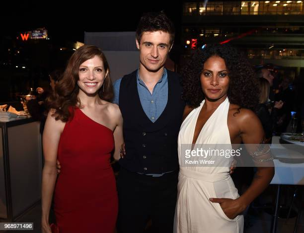Actors Katherine Cunningham Max Irons and Christina Moses pose at the after party for the premiere of ATT Audience Network's Condor at NeueHouse on...
