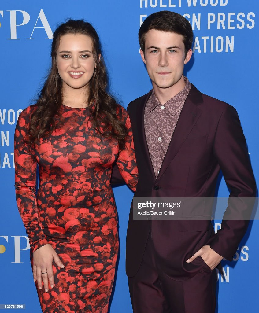 Actors Katherine Langford and Dylan Minnette arrive at the Hollywood Foreign Press Association's Grants Banquet at the Beverly Wilshire Four Seasons Hotel on August 2, 2017 in Beverly Hills, California.