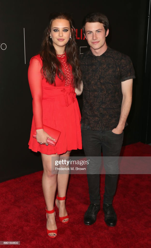 Actors Katherine Langford (L) and Dylan Minnette arrive at the Netflix FYSee Kick Off Event at Netflix FYSee Space on May 7, 2017 in Beverly Hills, California.
