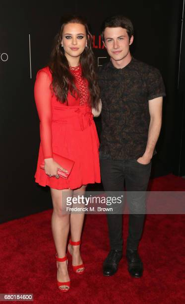 Actors Katherine Langford and Dylan Minnette arrive at the Netflix FYSee Kick Off Event at Netflix FYSee Space on May 7 2017 in Beverly Hills...