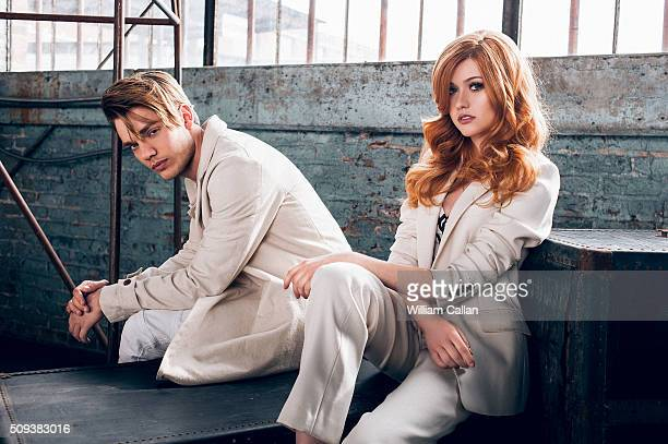 Actors Katherine McNamara and Dominic Sherwood of 'Shadow Hunters' are photographed for Bello on January 11 2016 in Los Angeles California