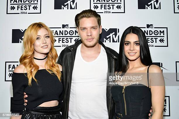 Actors Katherine McNamara Dominic Sherwood and Emeraude Toubia attend the MTV Fandom Awards San Diego at PETCO Park on July 21 2016 in San Diego...
