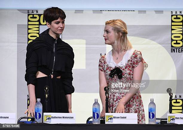 Actors Katherine Waterston and Alison Sudol attend the Warner Bros 'Fantastic Beasts and Where to Find Them' Presentation during ComicCon...