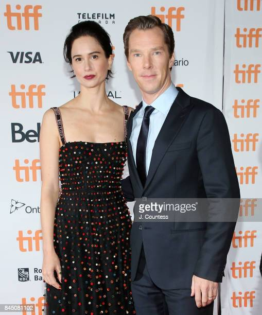 Actors Katherine Waterston and Benedict Cumberbatch attend the premiere of 'The Current War' during the 2017 Toronto International Film Festival at...