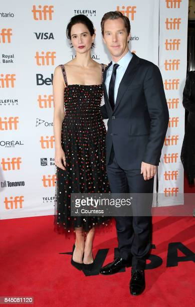 Actors Katherine Waterston and Benedict Cumberbatch attend the premiere of The Current War during the 2017 Toronto International Film Festival at...