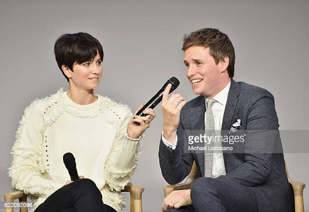 Actors Katherine Waterston and Eddie Redmayne attend the Apple Store Soho presentation of Meet the Cast 'Fantastic Beasts And Where To Find Them' at...