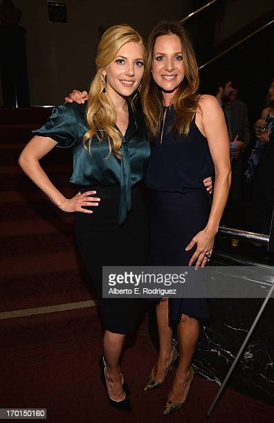 Actors Katheryn Winnick and Jessalyn Gilsig attend a reception for a screening and QA for The History Channel's Vikings at Leonard H Goldenson...
