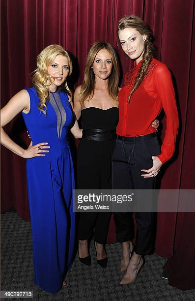 Actors Katheryn Winnick Jessalyn Gilsig and Alyssa Sutherland attend History's 'Vikings' ATAS panel at Leonard Goldenson Theatre on May 13 2014 in...