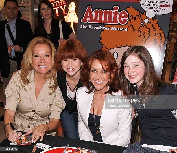 Actors Kathie Lee Gifford Amanda Balon Andrea McArdle and Marissa O'Donnell attend the Annie The 30th Anniversary Cast Recording CD signing on June 4...