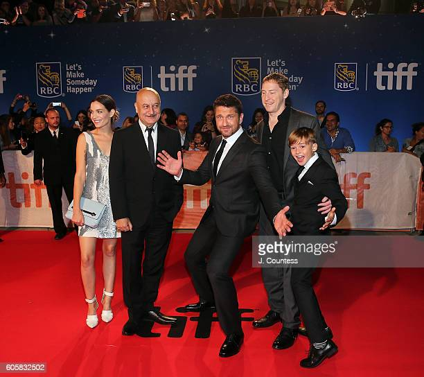 Actors Kathleen Munroe Anupam Kher Gerald Butler director Mark Williams and actor Maxwell Jenkins attend the 2016 Toronto International Film Festival...