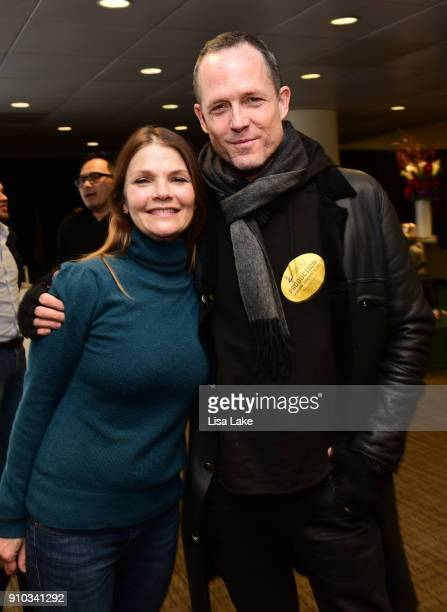 Actors Kathryn Erbe and Dean Winters attend the GRAMMY Gift Lounge during the 60th Annual GRAMMY Awards at Madison Square Garden on January 25 2018...