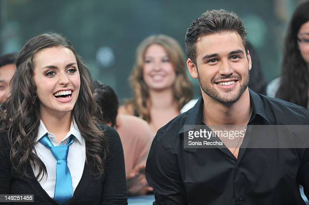 Actors Kathryn McCormick And Ryan Guzman visit MuchMusic at MuchMusic HQ on July 25 2012 in Toronto Canada