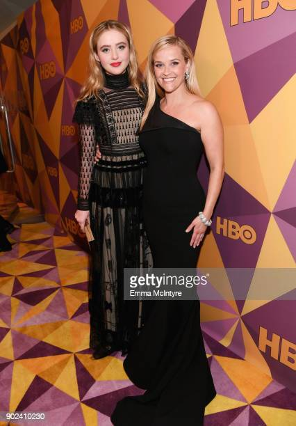 Actors Kathryn Newton and Reese Witherspoon attend HBO's Official Golden Globe Awards After Party at Circa 55 Restaurant on January 7 2018 in Los...