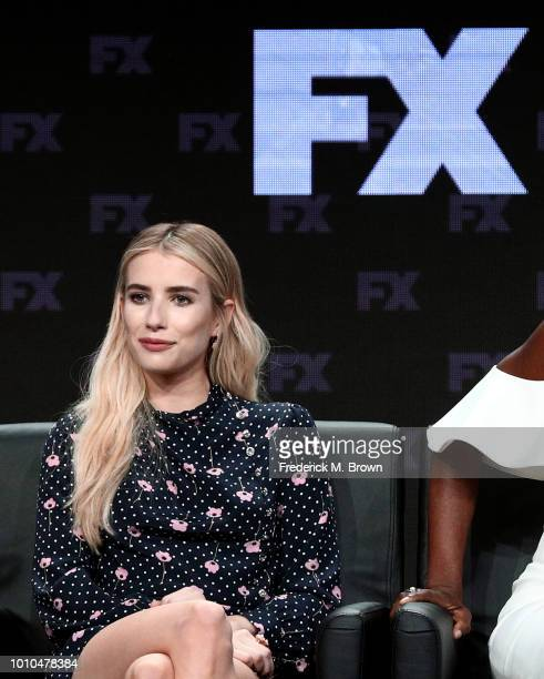 Actors Kathy Bates and Emma Roberts speak onstage at the 'American Horror Story Apocalypse' panel during the FX Network portion of the Summer 2018...