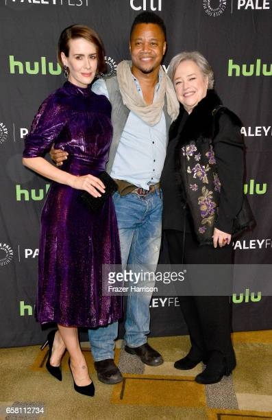 Actors Kathy Bates Cuba Gooding jr and Sarah Paulson attend The Paley Center For Media's 34th Annual PaleyFest Los Angeles 'American Horror Story...