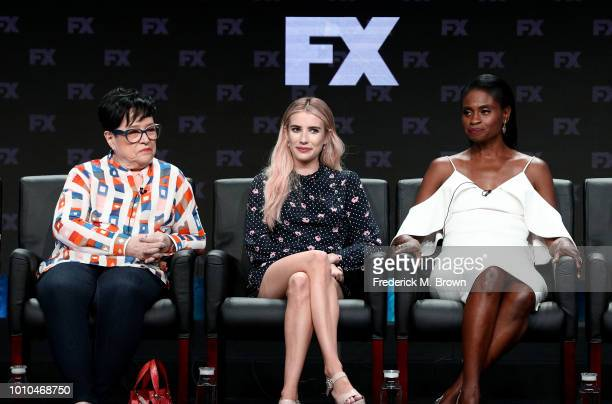 Actors Kathy Bates Emma Roberts and Adina Porter speak onstage at the 'American Horror Story Apocalypse' panel during the FX Network portion of the...
