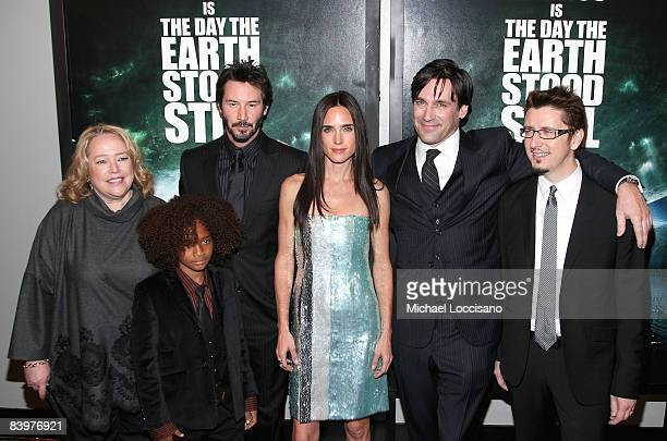 Actors Kathy Bates Jaden Smith Keanu Reeves Jennifer Connelly Jon Hamm and director Scott Derrickson attend the premiere of The Day The Earth Stood...