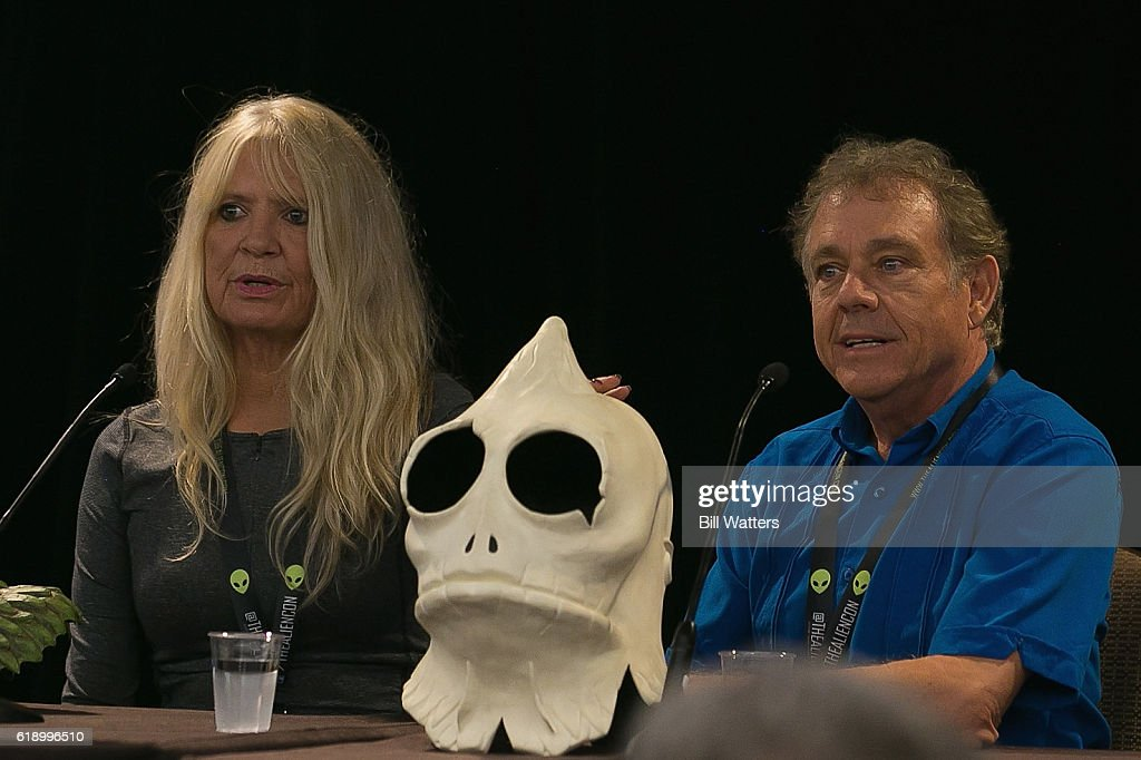 Actors Kathy Coleman and Wesley Eure speak on the Land of the Lost spotlight panel at Alien Con at the Santa Clara Convention Center on October 28, 2016 in Santa Clara, California.