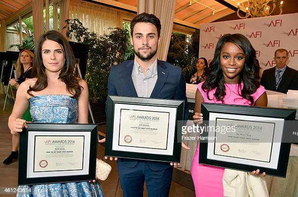 Actors Katie Findlay Jack Falahee and Aja Naomi King pose with awards during the 15th Annual AFI Awards at Four Seasons Hotel Los Angeles at Beverly...