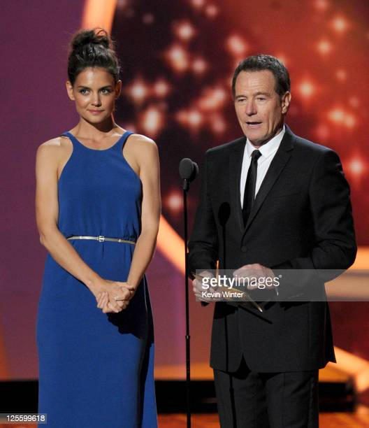 Actors Katie Holmes and Bryan Cranston speak onstage during the 63rd Annual Primetime Emmy Awards held at Nokia Theatre LA LIVE on September 18 2011...
