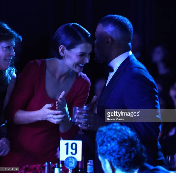 Actors Katie Holmes and Jamie Foxx attend the Clive Davis and Recording Academy PreGRAMMY Gala and GRAMMY Salute to Industry Icons Honoring JayZ on...