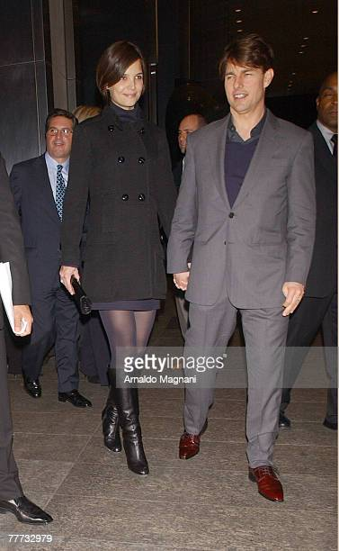 Actors Katie Holmes and Tom Cruise walk on the street in midtown November 6 2007 in New York City