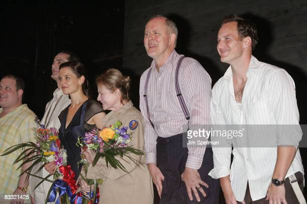 Actors Katie Holmes Dianne Wiest John Lithgow and Patrick Wilson during the opening night of All My Sons on Broadway at the Gerald Schoenfeld Theatre...
