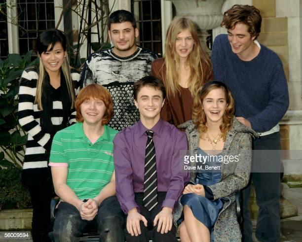 Actors Katie Leung Stanislav Ianevski Clemence Poesy Robert Pattinson Rupert Grint Daniel Radcliffe and Emma Watson attend the photocall for the...