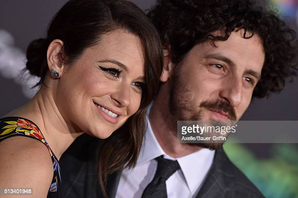 Actors Katie Lowes and Adam Shapiro arrive at the premiere of Walt Disney Animation Studios' 'Zootopia' at the El Capitan Theatre on February 17 2016...