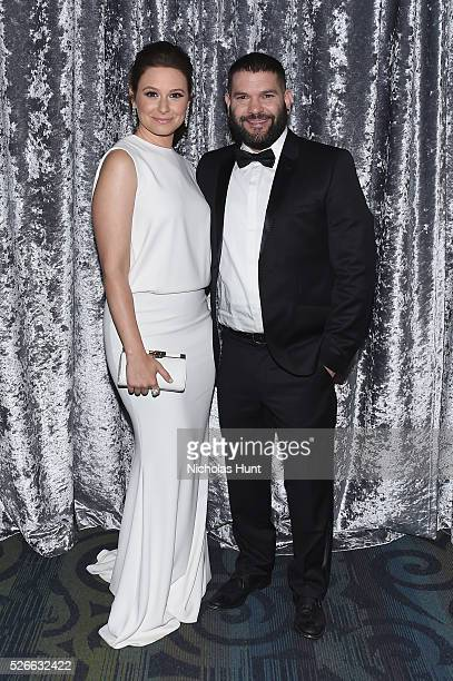 Actors Katie Lowes and Guillermo D��az attend the Yahoo News/ABC News White House Correspondents' Dinner PreParty at Washington Hilton on April 30...