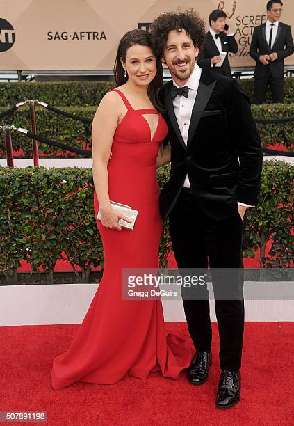 Actors Katie Lowes and husband Adam Shapiro arrive at the 22nd Annual Screen Actors Guild Awards at The Shrine Auditorium on January 30 2016 in Los...