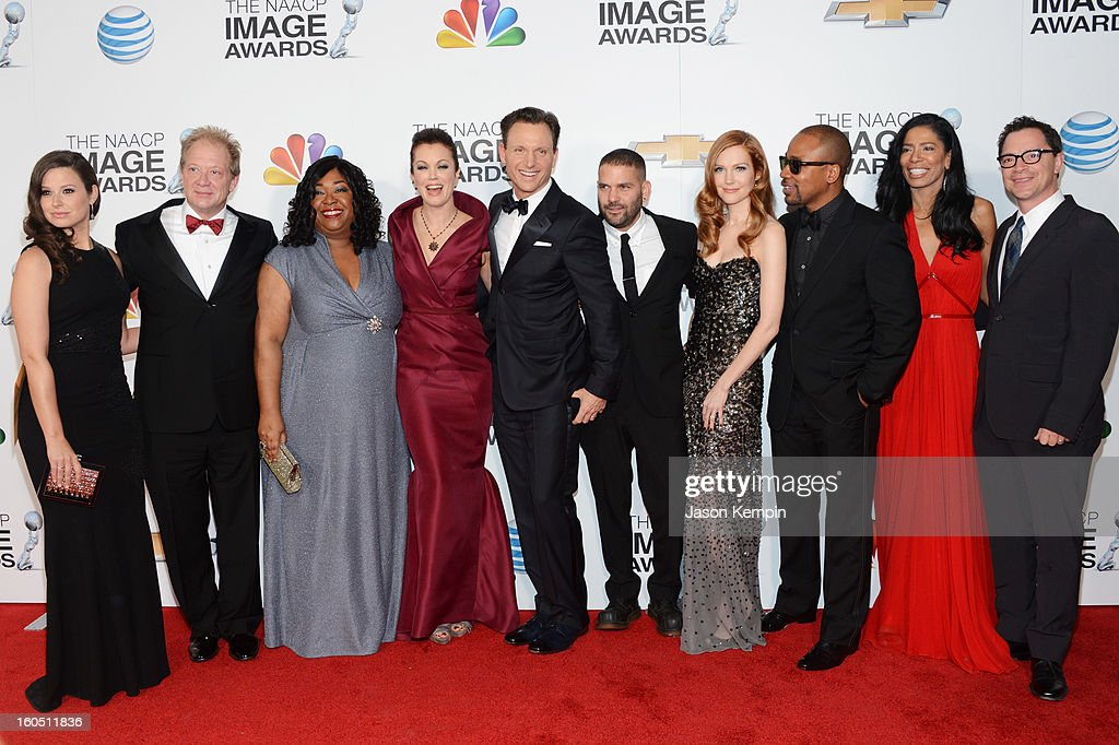 Actors Katie Lowes, Jeff Perry, writer/producer Shonda Rhimes, actors Bellamy Young, Tony Goldwyn, Guillermo Diaz, Darby Stanchfield, Columbus Short, executive producer Judy Smith and actor Joshua Malina arrive at the 44th NAACP Image Awards held at The Shrine Auditorium on February 1, 2013 in Los Angeles, California.