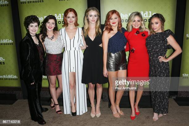 Actors Katlin Mastandrea Blaine Saunders Galadriel Stineman Greer Grammer Grace Bannon Brittany Ross and Natalie Lander attend ABC's The Middle 200th...