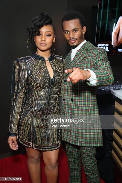 Actors Katlyn Nichol and Jelani Winston attend BET's American Soul Los Angeles Premiere on February 04 2019 in North Hollywood California