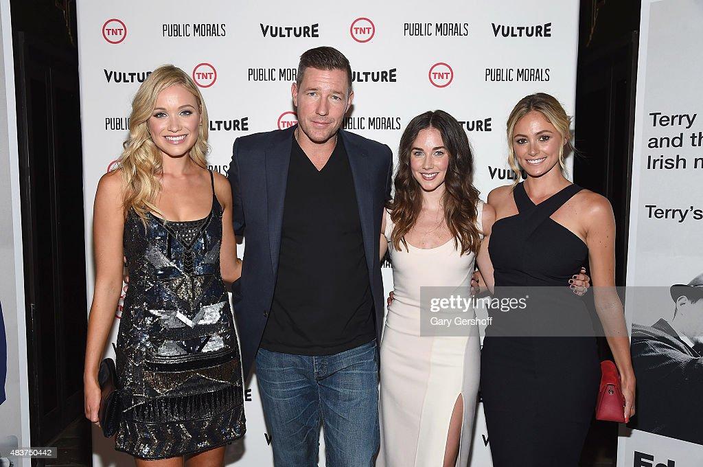 Actors Katrina Bowden, Edward Burns, Lyndon Smith and Eliizabeth Masucci attend the 'Public Morals' New York Screening at Tribeca Grand Screening Room on August 12, 2015 in New York City.