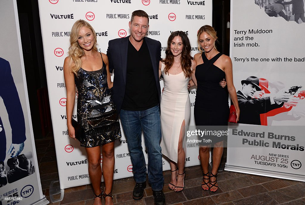 Actors Katrina Bowden, Edward Burns, Lyndon Smith, and Elizabeth Masucci attend the 'Public Morals' New York series screening at Tribeca Grand Screening Room on August 12, 2015 in New York City.